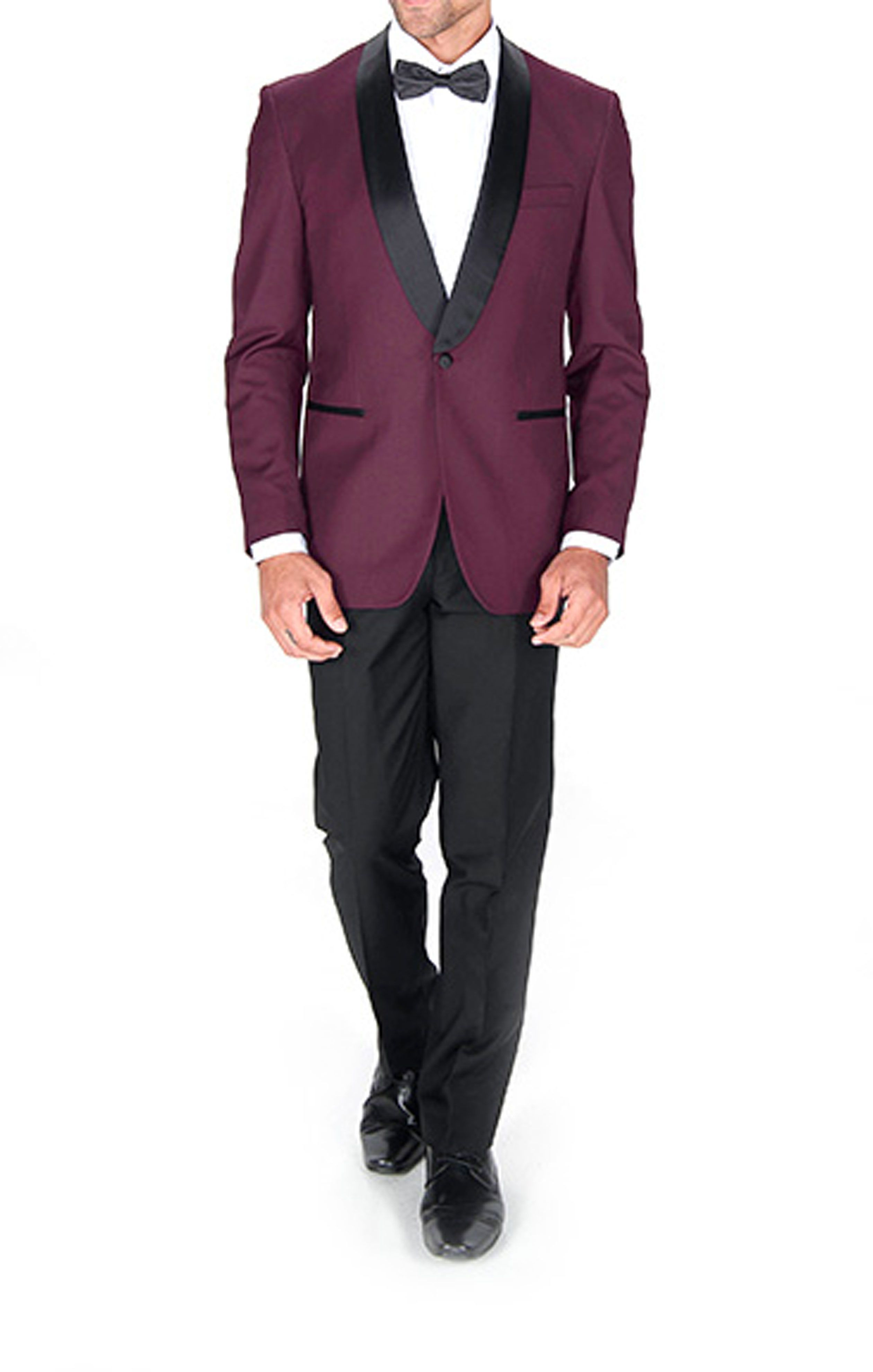 This burgundy slim-fit tuxedo jacket sports a shawl collar and ...