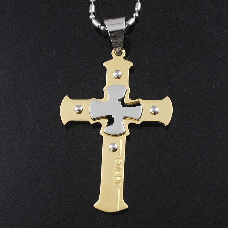 AMUMIU Gifts Gold Color Jesus Cross Pendant Necklace Fashion Men Jewelry  Stainless Steel Crucifix Necklace KP1171 d26b87efd732