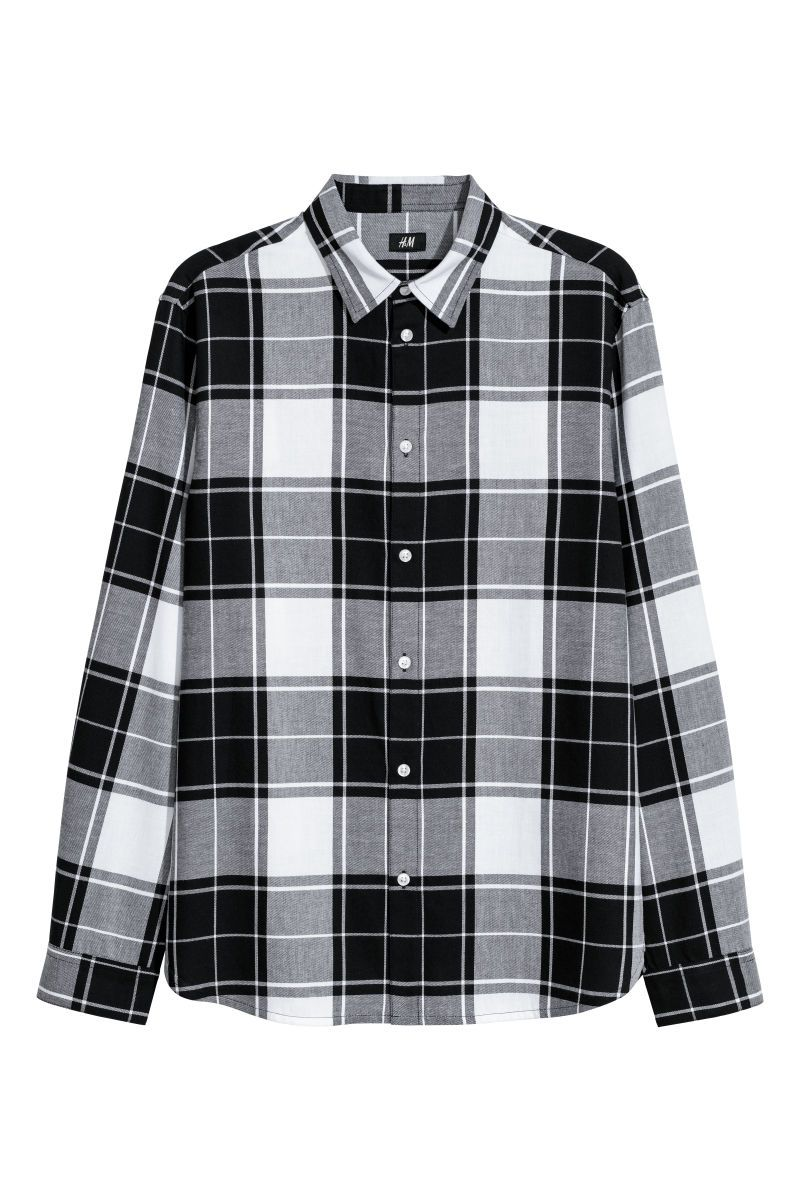 closing scene Black flannel shirt, Black and white
