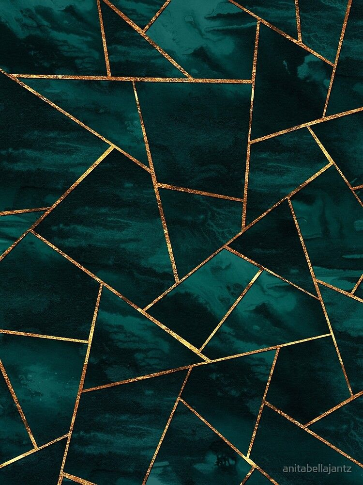'Dark Teal Ink Copper Gold Geometric Glam 1 geo decor