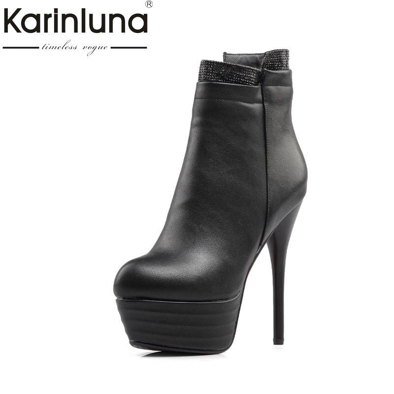 e2da53f8564 KARINLUNA Large Size 31-46 Super High Heels Women Shoes Woman Sexy Platform  Ankle Boots