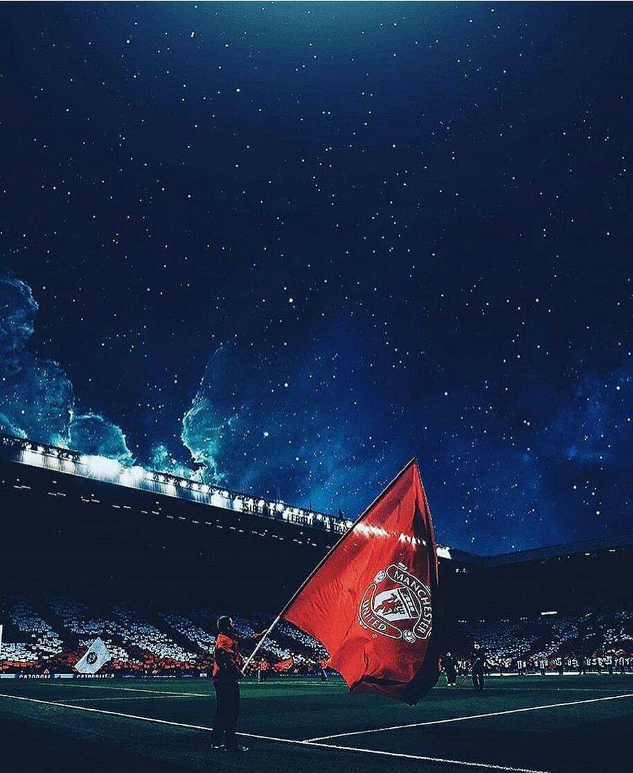 Manchester United Flag Old Trafford Sepak Bola Olahraga Gambar Sepak Bola