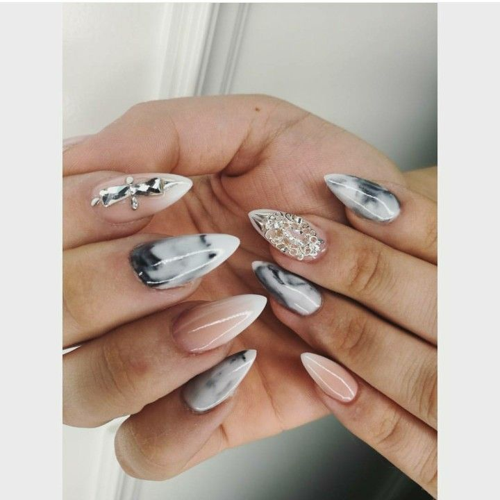 marble sharp almond nails