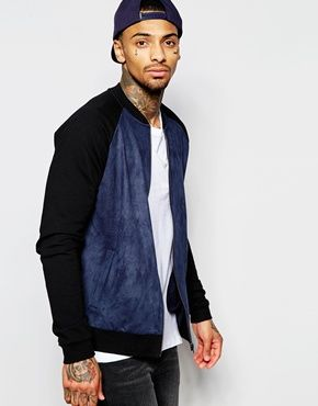 Bomber Jacket by ASOS Soft-touch jersey Faux suede front panel Round neck  Ribbed trims Zip opening Side pockets Fitted hem and cuffs Regular fit -  true to ...