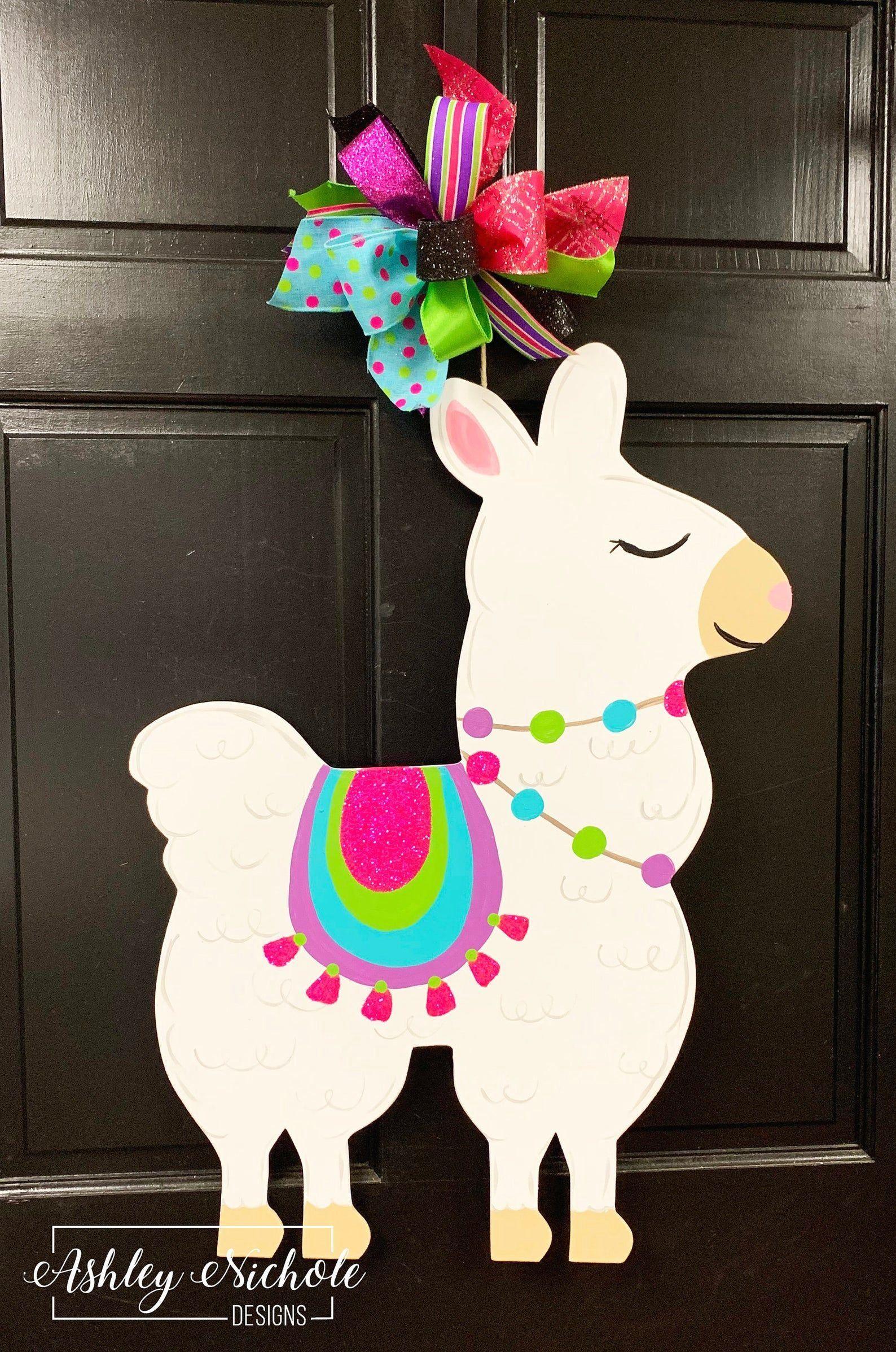 Llama Door Hanger Etsy 1000 In 2020 Door Hangers Baby Door Hangers Door Decorations