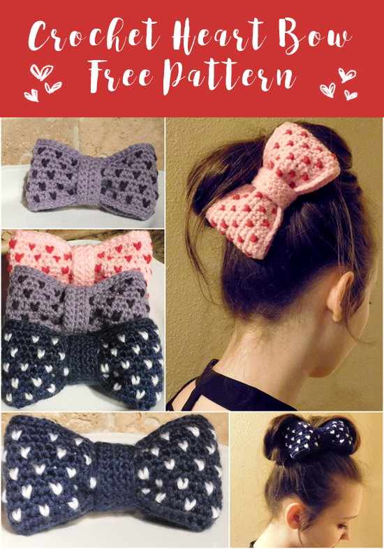 Crochet Heart Bow Pattern Whoot Best Crochet And Knitting Patterns