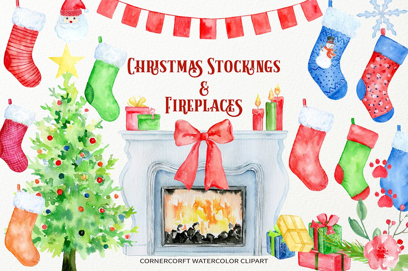 christmas stockings and fireplaces clipart graphic design sets rh pinterest com
