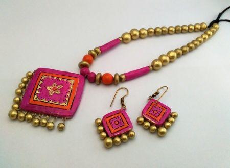 Shop online grand trendy terracotta jewellery | Earrings | best price  1850.00 | Trendy earrings, Terracotta jewellery, Jewelry