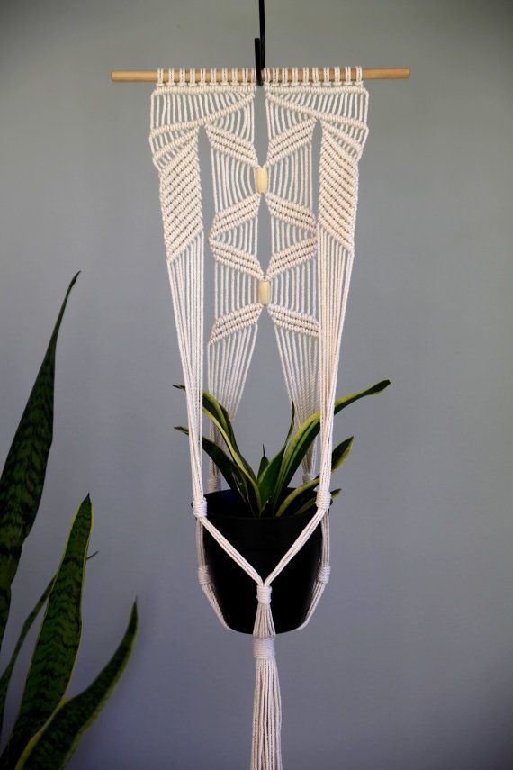 Macrame Plant Hanger 45 Knotted Natural White