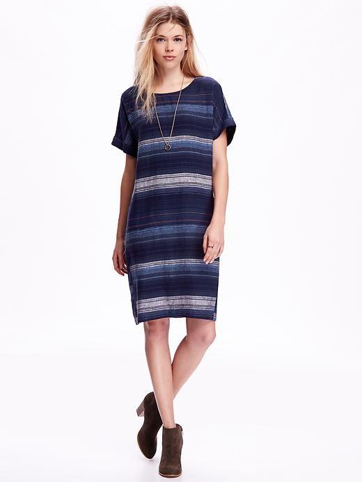 95c249c4563 Linen-Blend Shift Dress