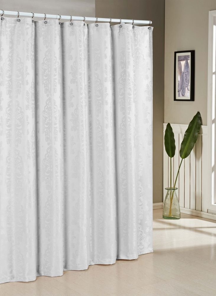 Damask Design Bathroom Water Repellent Fabric Shower Curtain - White ...