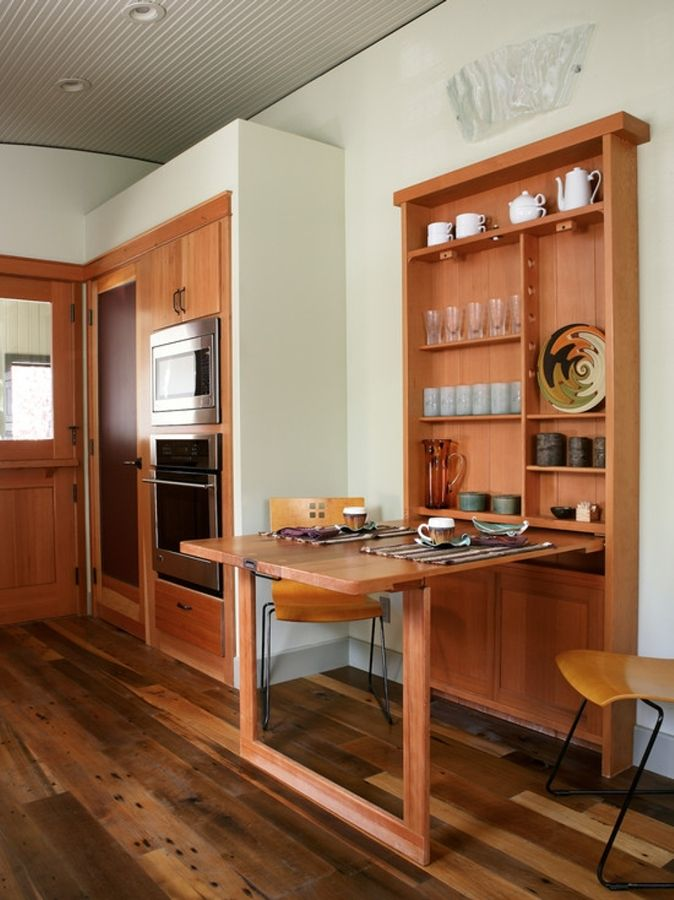 Mueble de madera con mesa #plegable #cocina | Mhv | Tiny house ...