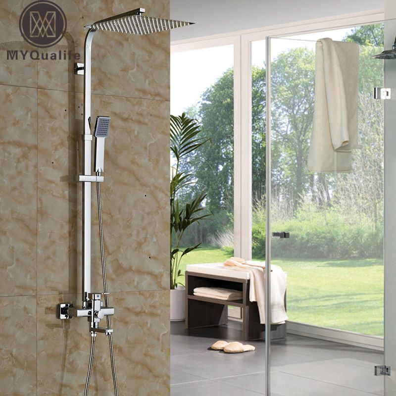 Best Quality 12 10 8 Stainless Steel Rain Shower Faucet Single Handle Rotate Tub Shower Mixer Taps Chrome Finis Bathtub Shower Outdoor Baths Shower Mixer Taps