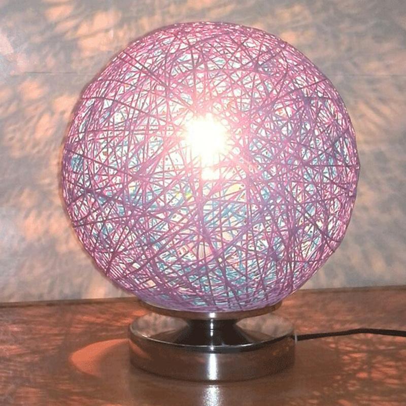 44.96$  Watch here  - Diameter 20cm Takraw night light  220v Creative Rattan Ball design table lamp for  Bedroom living room indoor lighting