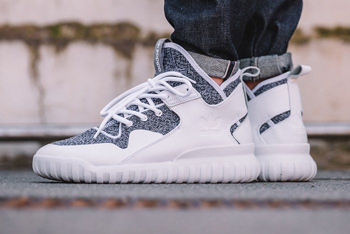 This new colorway of the adidas Tubular X features a white upper with  heather grey wool