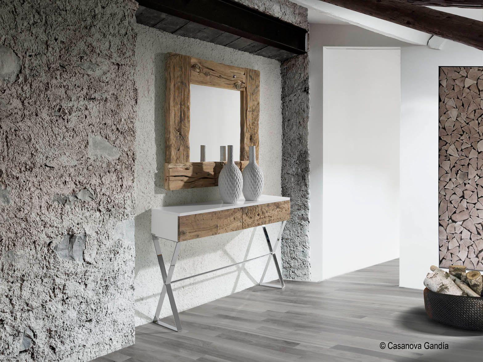 Recibidor con consola patas de metal con espejo en madera for Muebles bustos
