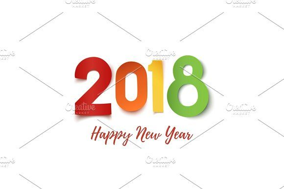 Happy New Year 2018 greeting card template Greeting card template