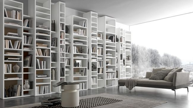 Regalsystem Bücher design puristisch weiß wand regalsystem bücher raumhoch pari dispari