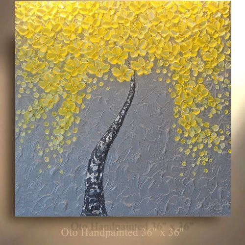 Made To Order Original Tree Painting Yellow Flower Abstract
