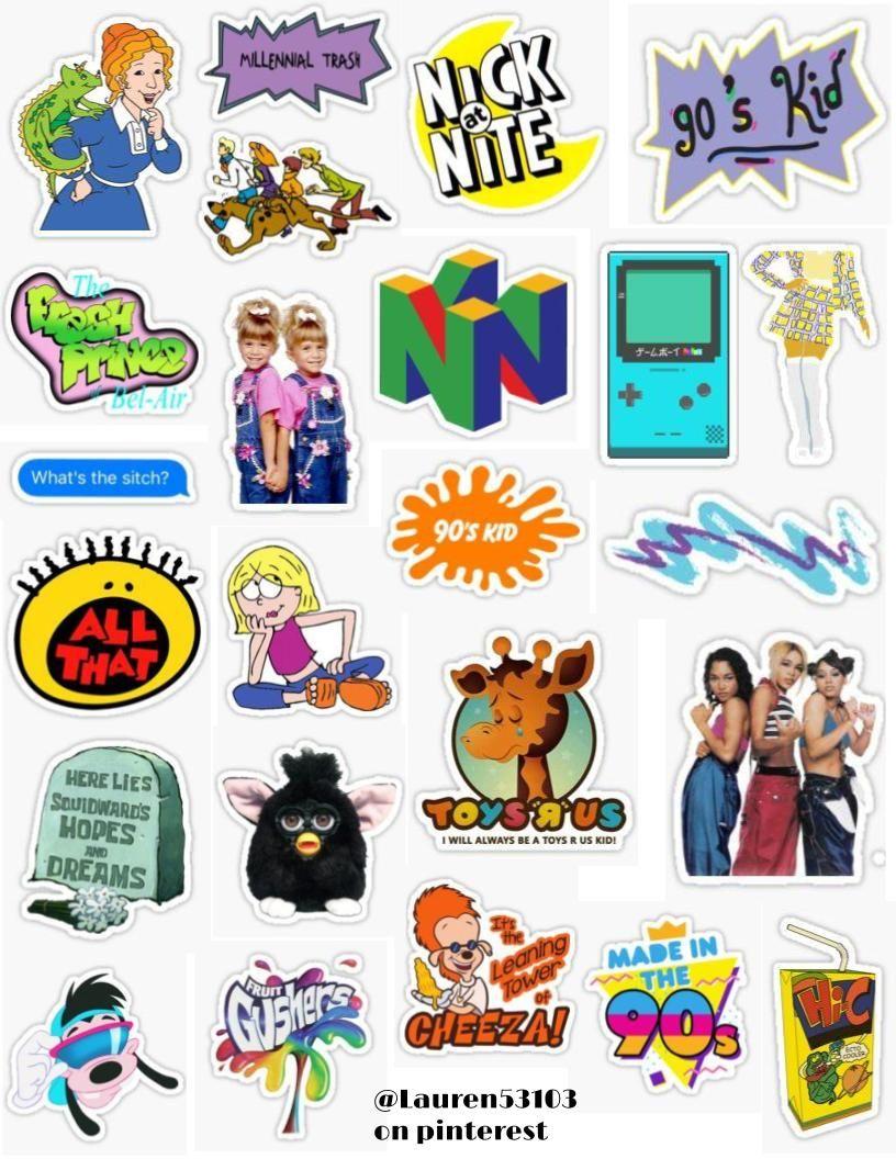90 S Kid Sticker Pack Sticker By Lauren53103 In 2020 Kids Stickers Print Stickers Iphone Case Stickers