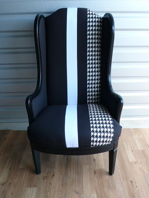 black slim wing armchair with white houndstooth stripe fabric my rh pinterest com