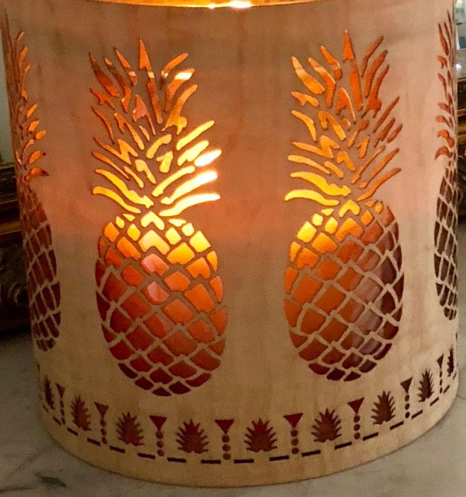 Gorgeous pineapple wood and glass lantern   Pineapple decor, Wood ...
