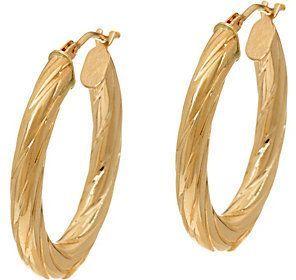 Qvc As Is 14k Gold Oval Twist Hoop Earrings