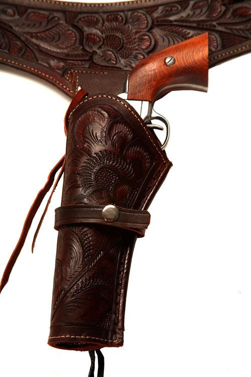 44/45 Caliber Brown LEFT HANDED Western Gun Holster (Sizes 34-50