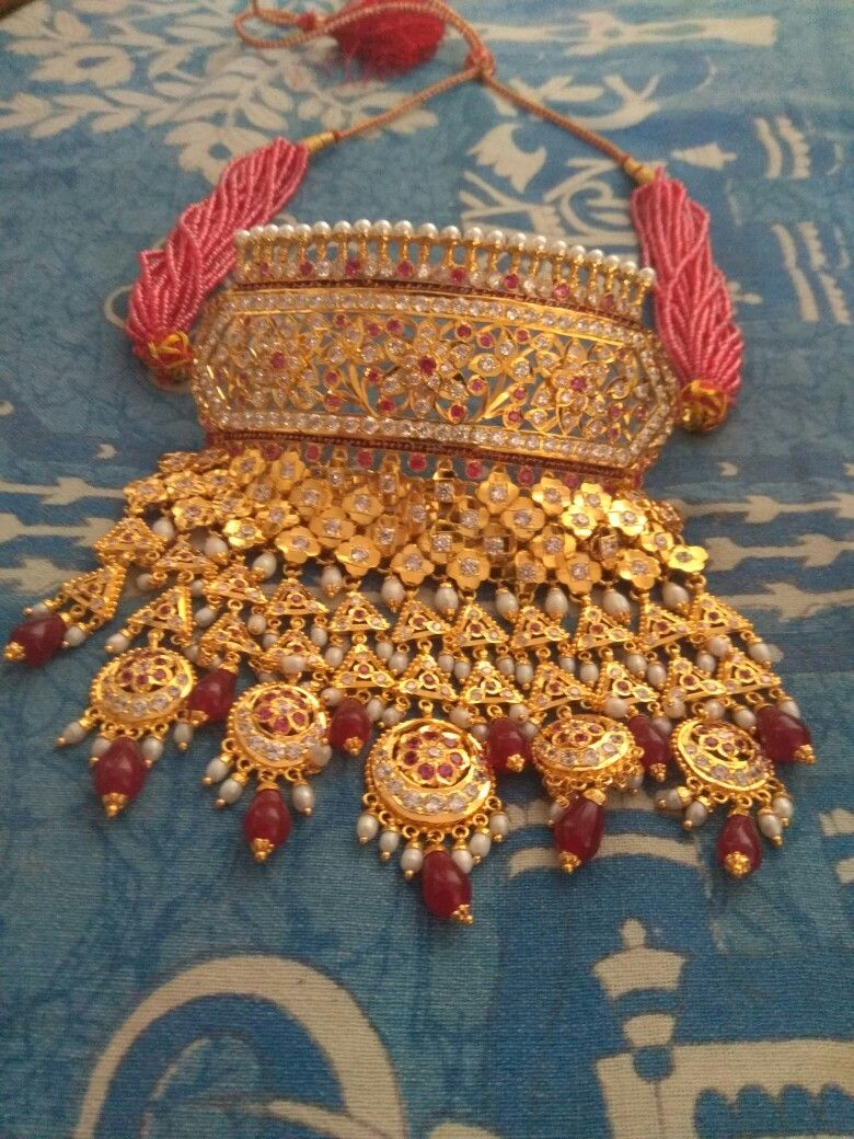Traditional rajasthani aad in gm gold plated traditional