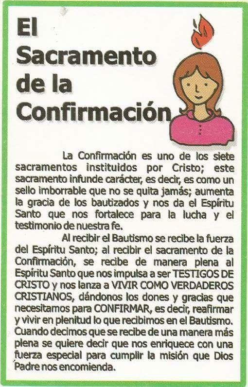 Confirmacion Sacramento de confirmacion Catecismo y