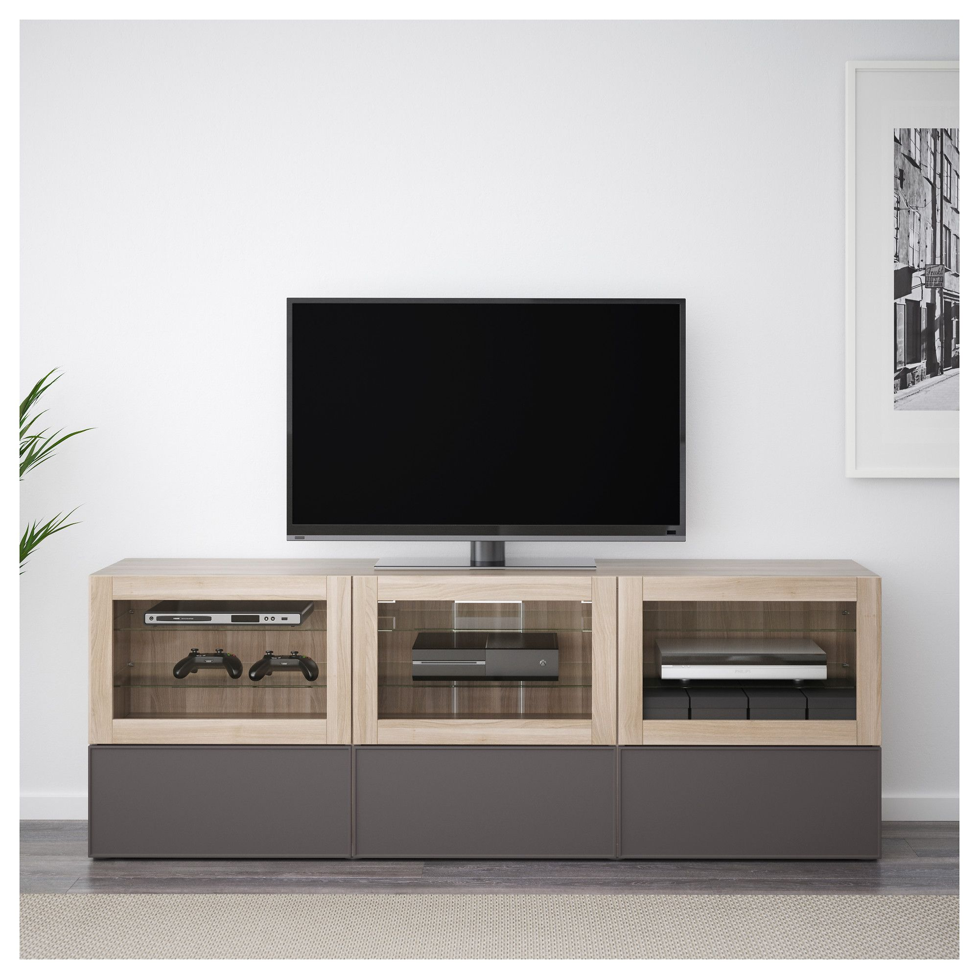 Ikea Bestå Tv Unit With Doors And Drawers Walnut Effect Light Gray
