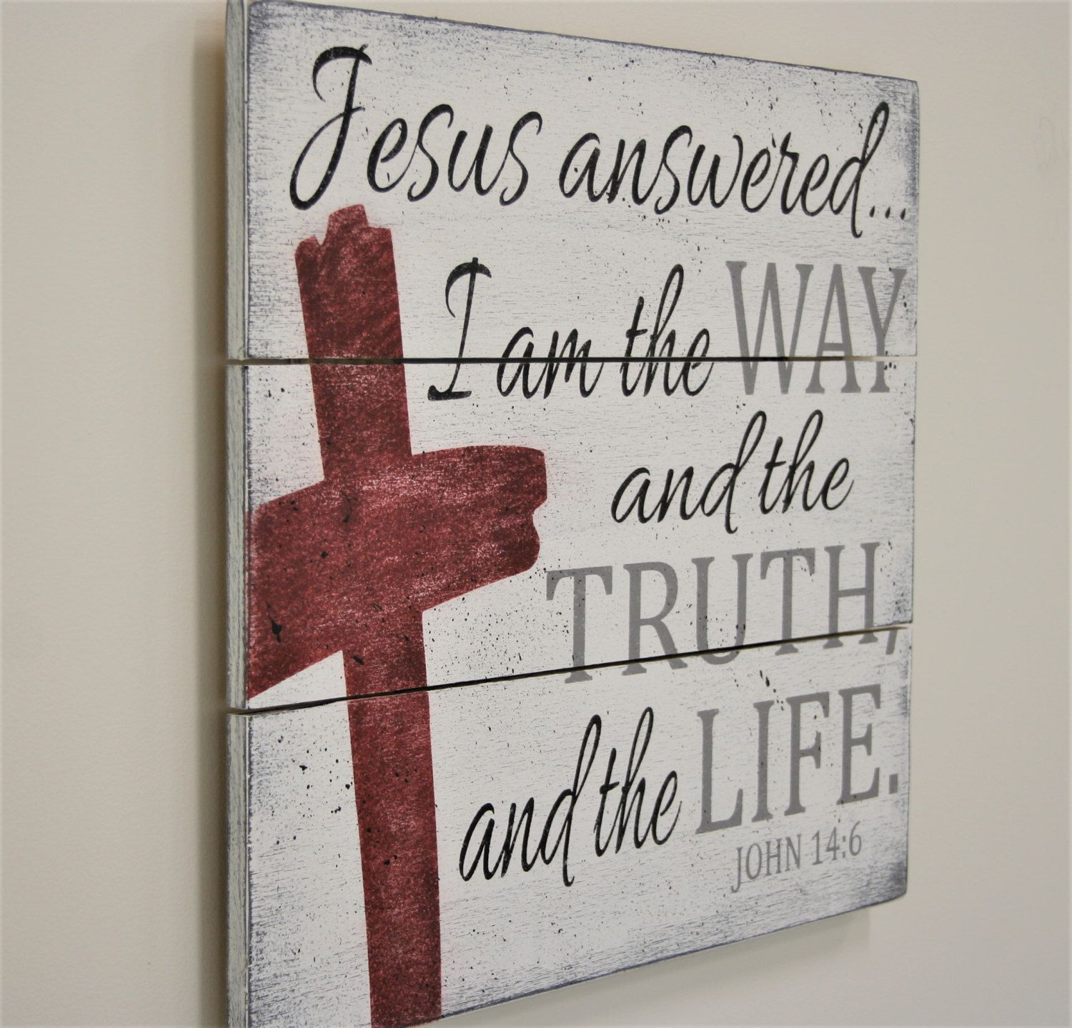 Christian home decor - Wood Pallet Sign Christian Wall Decor Christian Home Decor I Am The Way The Truth And
