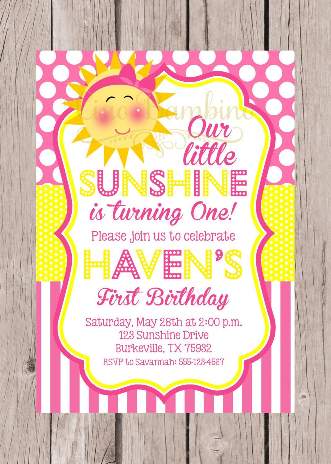 PRINTABLE You are My Sunshine Birthday Party Invitation / PRINTABLE ...