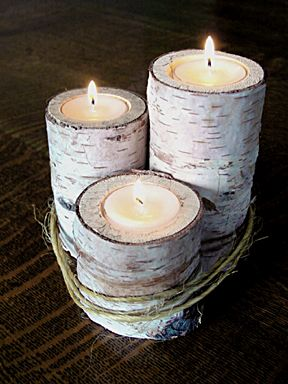 birch log candle holder would look great on thanksgiving table rh pinterest com