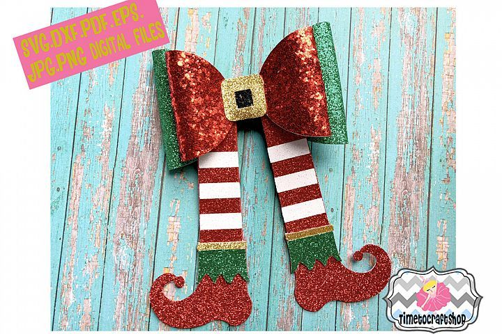 Holiday Christmas Elf Legs and Shoes Hair Bow Template