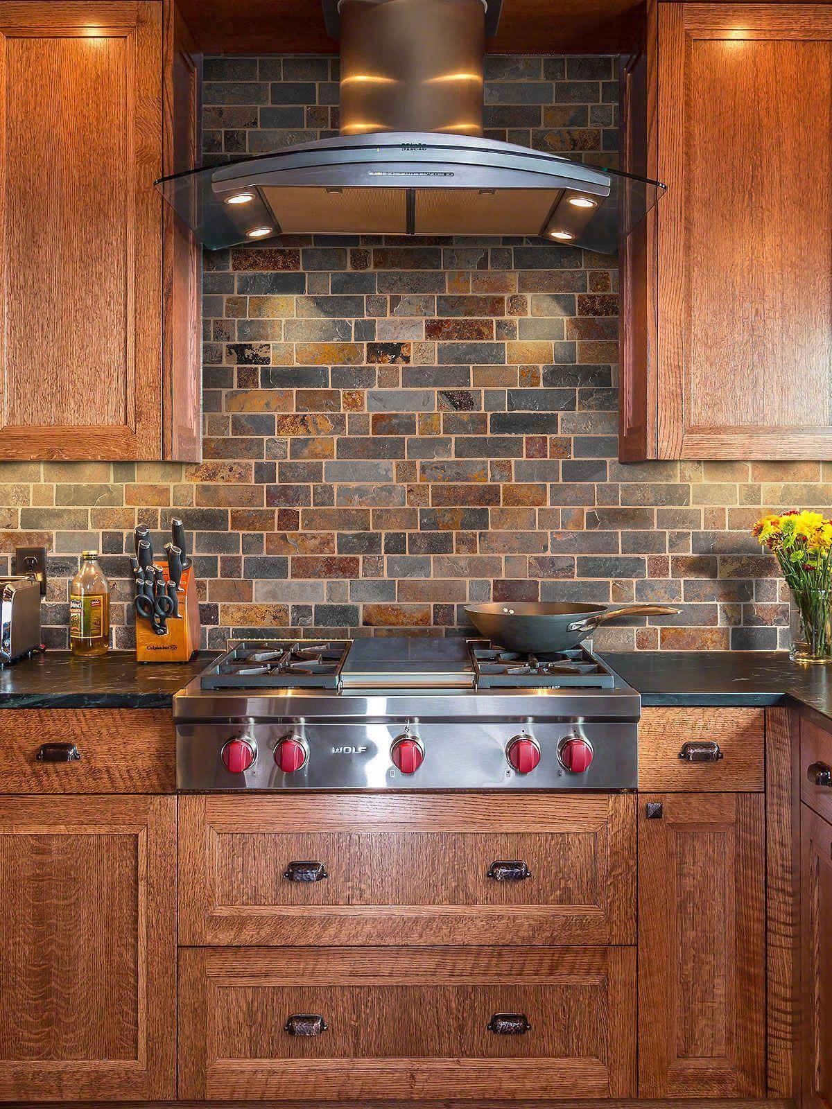 Rusty Brown Slate Mosaic Backsplash Tile For Traditional Kitchen Rustic Kitchen Backsplash Kitchen Layout Craftsman Kitchen