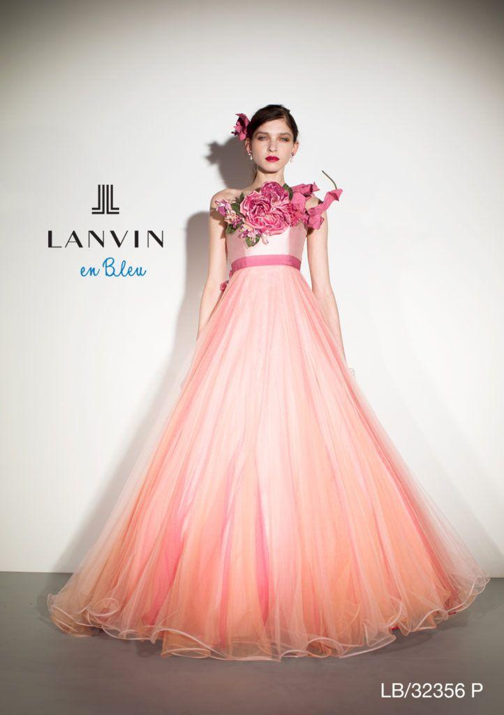 LB-32356 - LANVIN en Bleu カラードレス - ブーケのような大きなアート ...