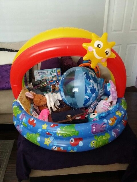 Easter basket for baby girls first easter but also threw in everyone easter basket for baby girls first easter but also threw in everyone elses goodies in there too reusable cause its a mini pool negle Images