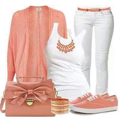 e706ae18a2 Peach and white outfit