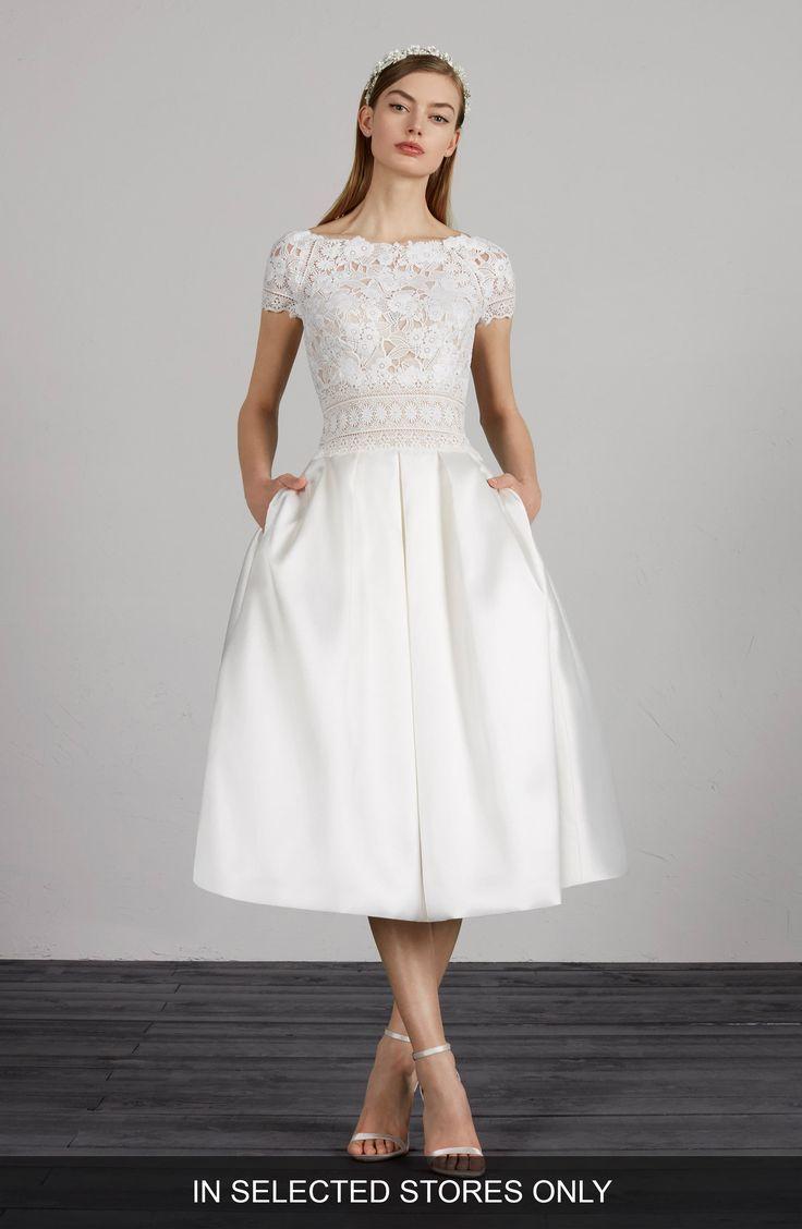 women's pronovias miami lace & mikado tea length dress, size