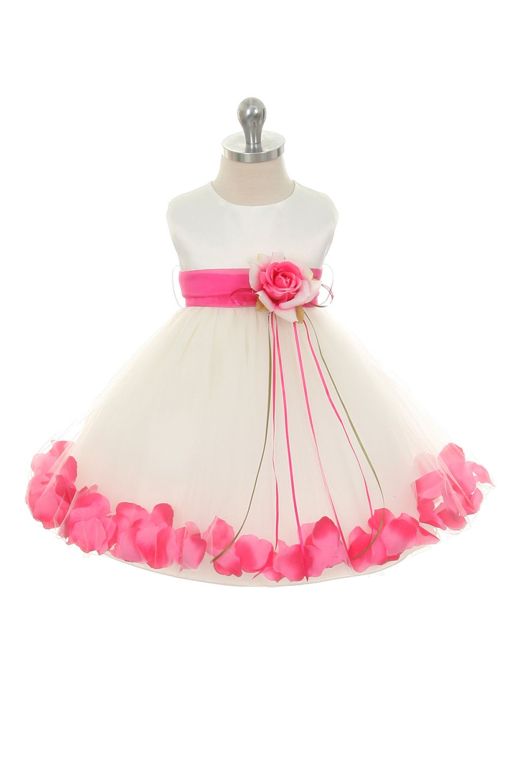 48c6e99147c Easter Dress  Ivory Fuchsia Infant Rose Petal Flower Girl Dress with Removable  Sash