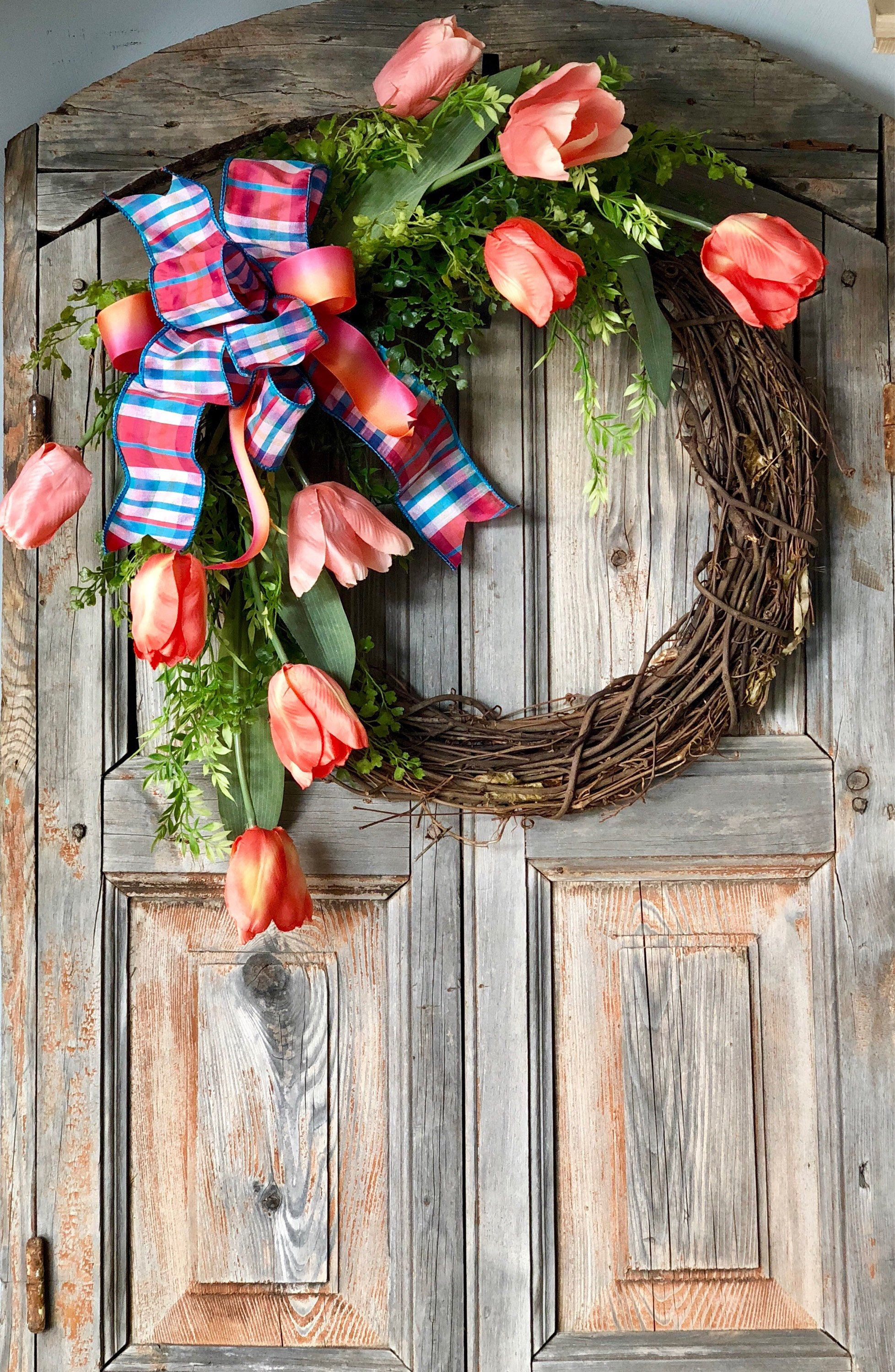 the nadia tulip wreath spring wreath for front door mothers day rh pinterest co uk