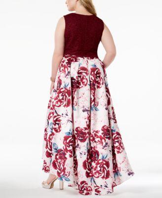 3f54da6ae2a Morgan   Company Trendy Plus Size 2-Pc. Printed Lace Gown - Red 14W ...