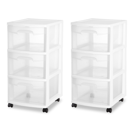 Sterilite 3 Drawer Cart White Sterilite Drawers