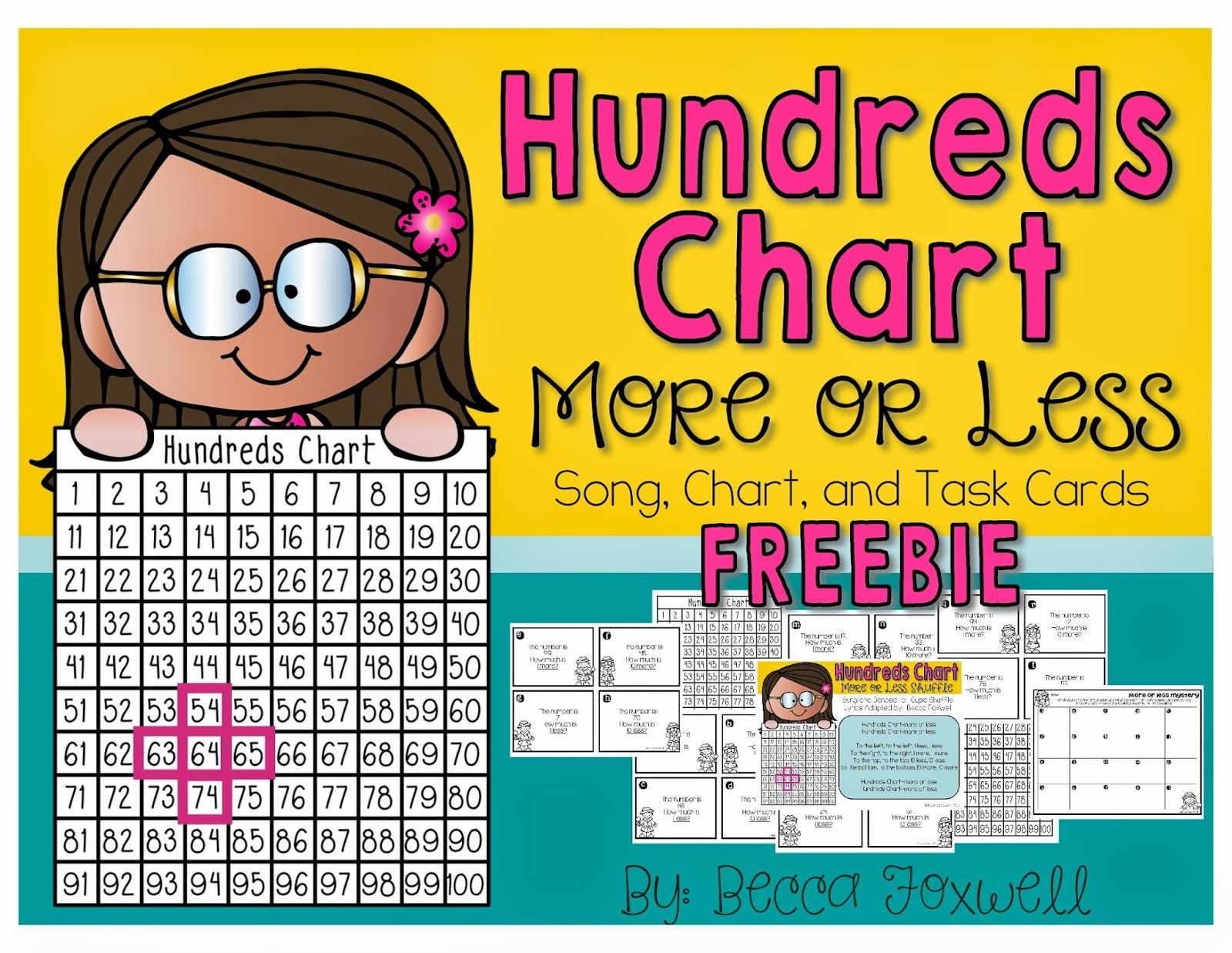 Hundreds Chart More Or Less Song And Task Cards Activity