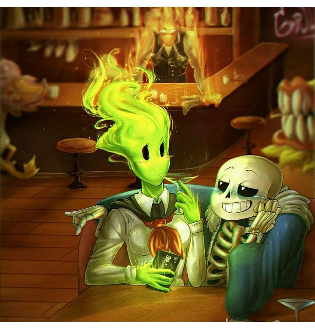 Someone's gonna die tonight I'm sure  Whether it's grillby