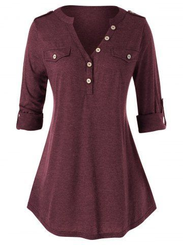 Photo of Plus Size Buttons Roll Up Sleeve Heathered T Shirt