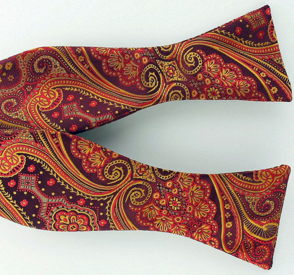 New red gold paisley mens bow tie self loop tuxedo wedding fashion