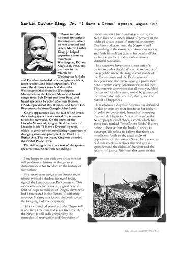 MartinLutherKingDreamSpeechActivities-(1).pdf | Speech ...