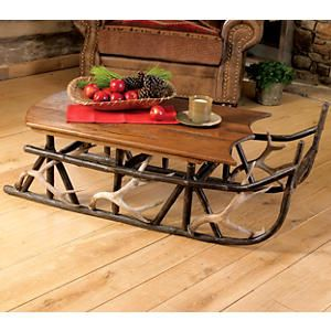 Hickory U0026 Antler Sleigh Coffee Table